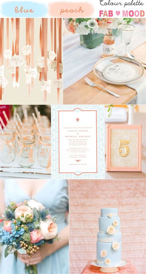Blue & Peach Wedding Colour Mood Board