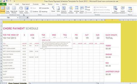 Payment Schedule Template Excel by Free Chore Payment Schedule Template For Excel 2013