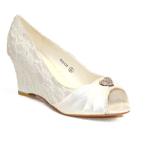 Wedding Shoes Low Heel Ivory by New Ivory Low Heel Wedge Wedding Bridal Court Shoe