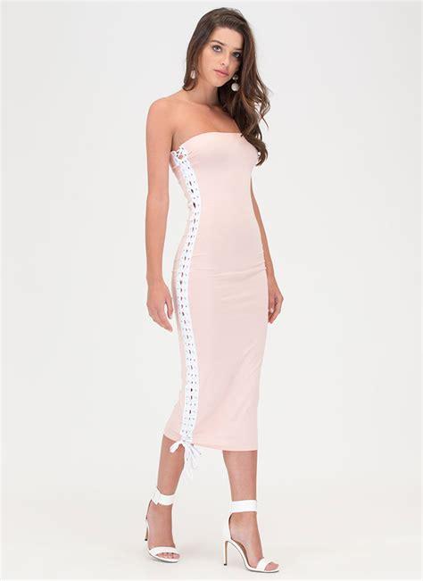 Gamis Pink Shofiya Maxi laced the slit maxi dress pink white gojane