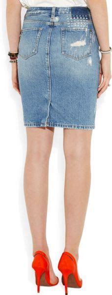 ksubi distressed denim skirt in blue denim lyst