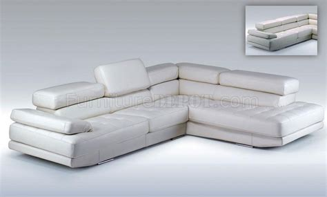 snow white top grain italian leather modern sectional
