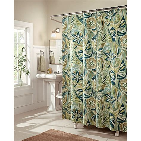 green bathroom curtains buy blue and green shower curtains from bed bath beyond