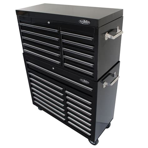 25 Drawer Combo Black Top Chest and Roll Cabinet 42 inch