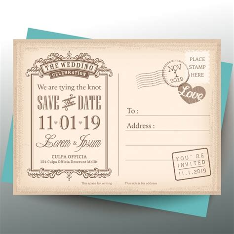 einladung postkarten hochzeit vintage postcard for a wedding invitation vector free