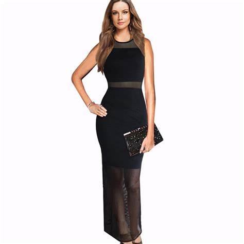Dress Cewek Wanita Maxi Seethru Dress Black aliexpress buy black see through maxi dress mesh charming 2015