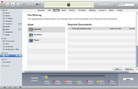 devices section in itunes speater file sharing itunes