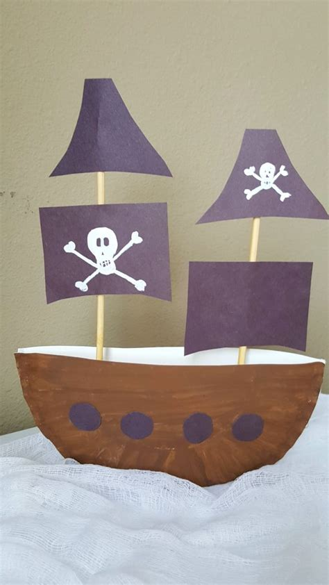 How To Make A Pirate Ship With Paper - pirate ship paper plate craft 3d project for
