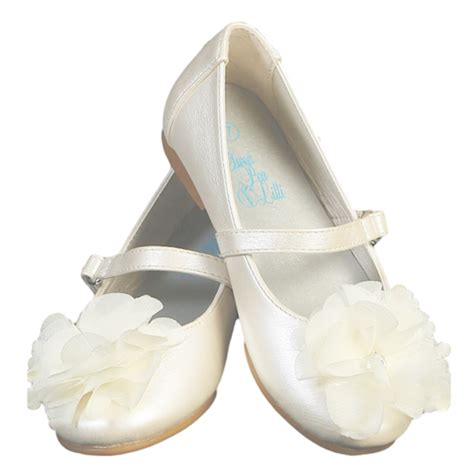 ivory dress shoes with a flower on toe baby