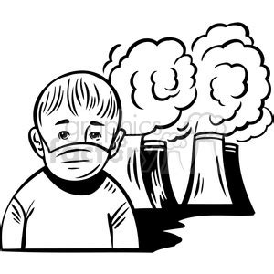 air pollution  making humans sick clipart royalty