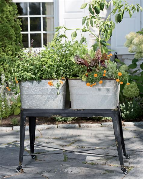 Elevated Container Garden Planters by Wash Tub Planter Elevated Garden Metal Wash Tub Planter
