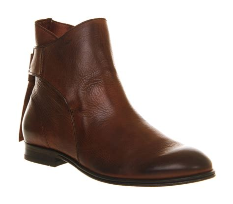 womens h by hudson etty back tie boot brown leather boots