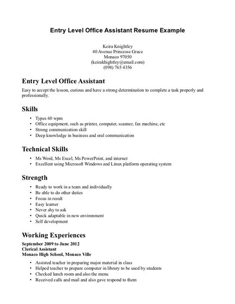Entry Level Office Assistant Resume Sle Assistant Front Office Resume Sales Assistant Lewesmr