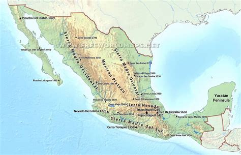 map of south america including mexico mexico physical map