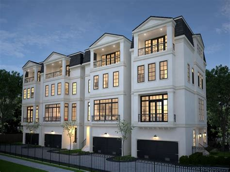 four 4 story townhomes in houston by wood assoc
