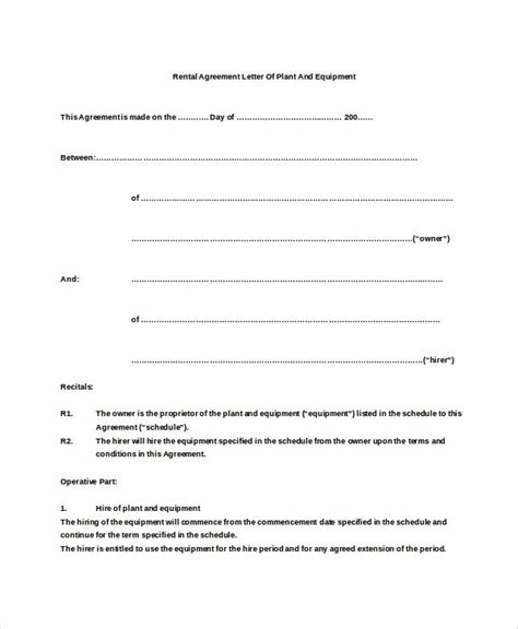 rental agreement letter premium