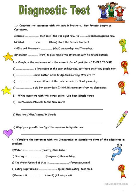 printable free english tests diagnostic test worksheet free esl printable worksheets