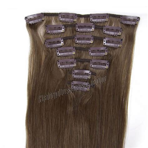 30 inch human hair extensions 30 inch 8 ash brown clip in human hair extensions 8pcs