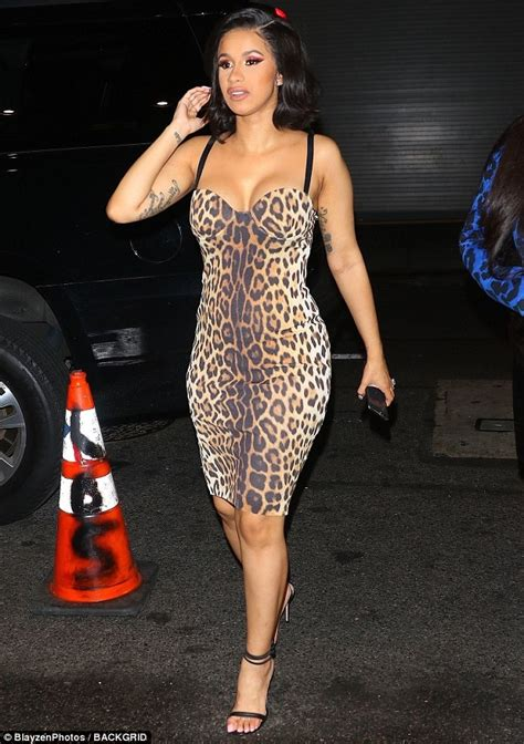 Dress Cardi Channel cardi b gets hearts racing in skintight leopard print
