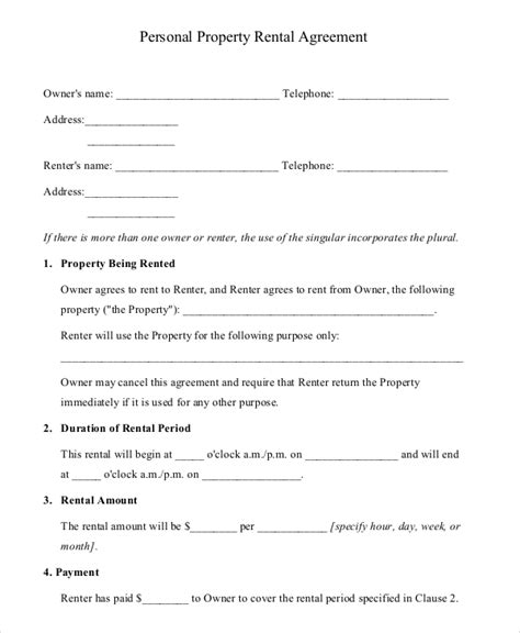 rental property agreement template 15 property rental agreement templates free sle