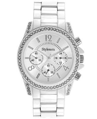 styleco  womens silver tone bracelet sc watches jewelry watches macys