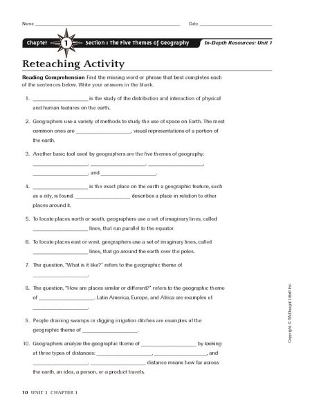 five themes of geography handout worksheet 5 themes of geography worksheets hunterhq free