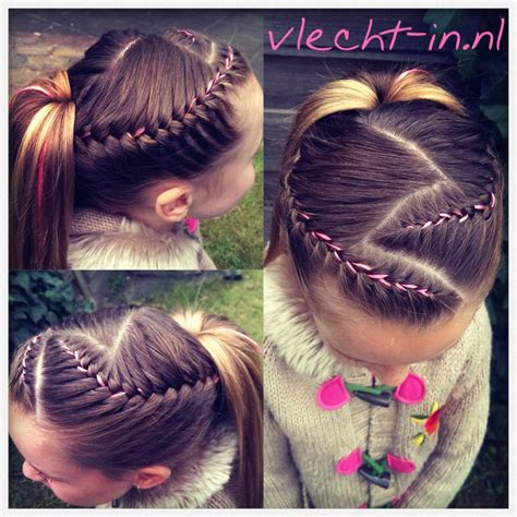 french braid pigtails instructions two french braids with ribbon and a ponytail www vlecht