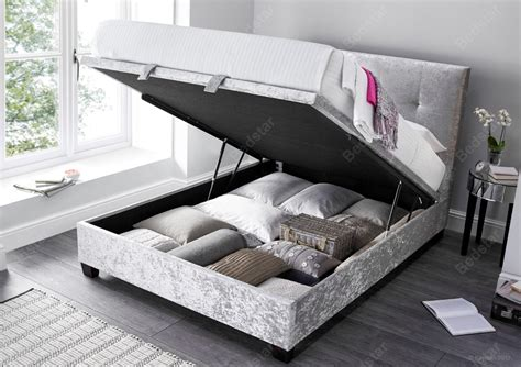 crushed velvet ottoman storage bed kaydian design walkworth 4ft 6 double fabric ottoman bed