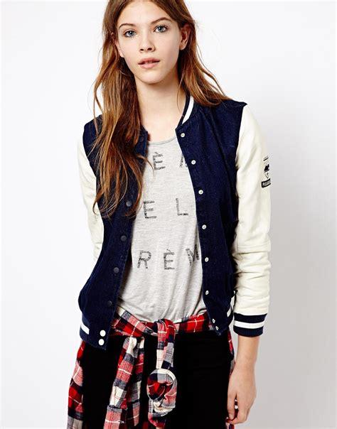 Look Korean Jaket Baseball Brown pull baseball jacket with leather look sleeve http ootdmagazine style