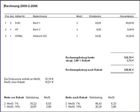Muster Rechnung Rabatt Rechnung Mit Bruttobetr 228 Und Rabatten Harmony