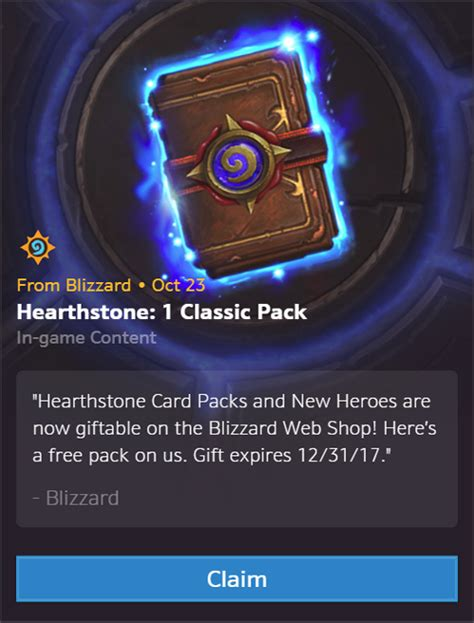 Hearthstone Gift Cards - battle net gifting free hearthstone card packs to celebrate its brand new social features