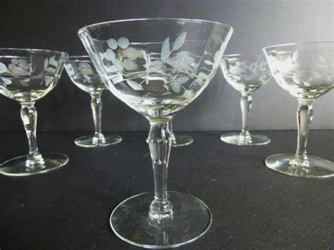 crystal barware vintage etched crystal chagne glasses set of 6