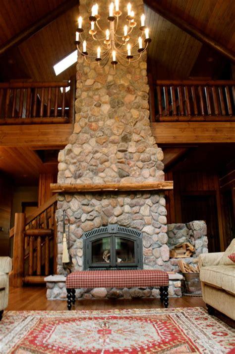 story high wood burning fireplace