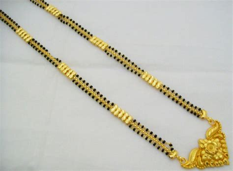 old pattern gold necklace bridal 22k gold plated mangalsutra flower pattern beaded