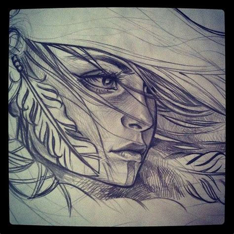 indian pattern tattoos tumblr drawn woman native american pencil and in color drawn