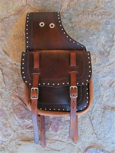 Handmade Saddlebags - custom western leather saddlebags with two straps