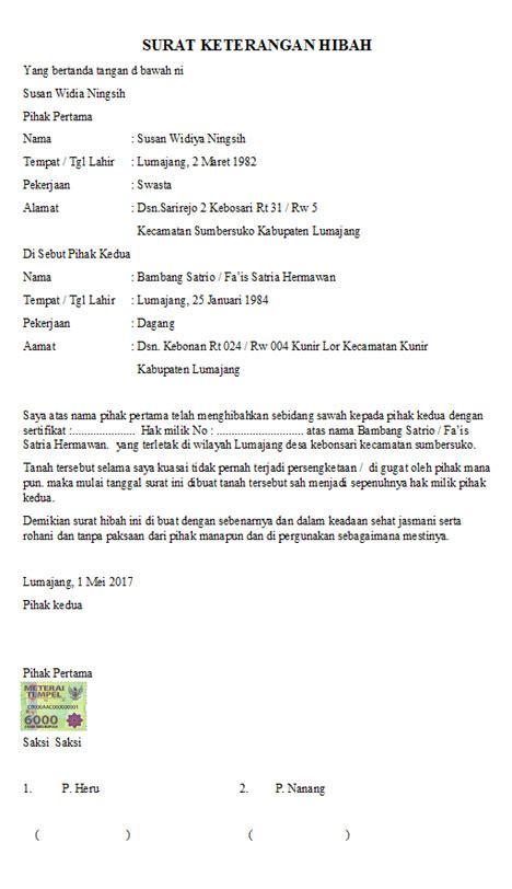 Contoh Surat Orton Download Contoh Surat Keterangan Hibah