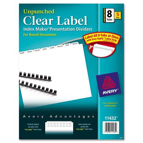 Avery Index Maker Clear Label Divider Ld Products Avery Clear Label Dividers Template