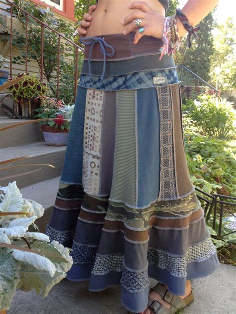 Patchwork Hippie Skirt - eco boho skirt clothing upcycled patchwork