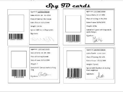 Secret Identity Card Template by List Of Synonyms And Antonyms Of The Word Cards