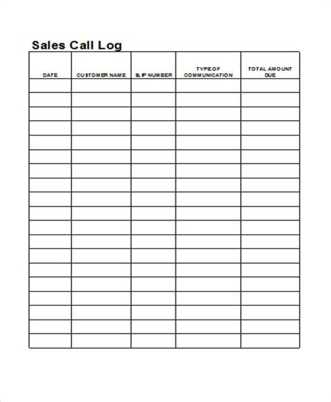 27 Log Templates In Excel Sle Templates Sales Call Log Template