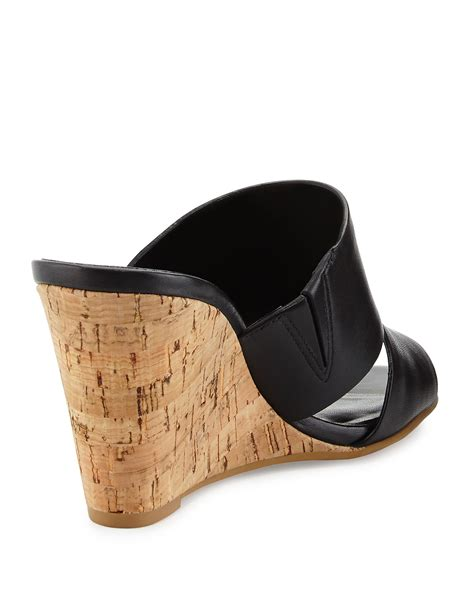 cole haan acoma slip on cork wedge sandal in black lyst