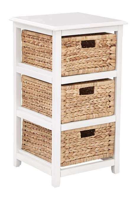 Wooden Storage Tower With Drawers by 3 Drawer Espresso Or White Wood Storage Tower W Baskets