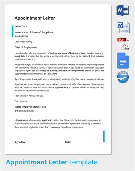 appointment letter employees template new employee appointment letter format doc letter