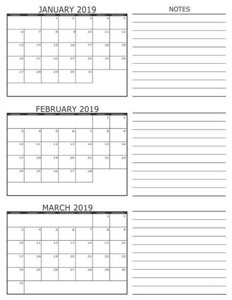 january february march quarter calendar