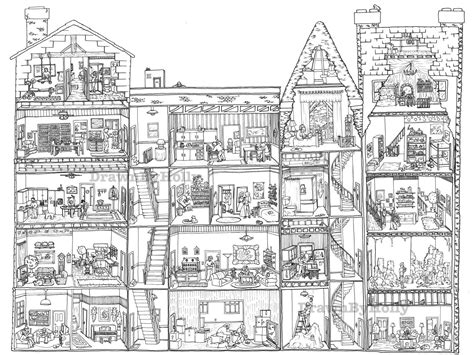 coloring pages for adults buildings apartment building cross section coloring poster 18 x