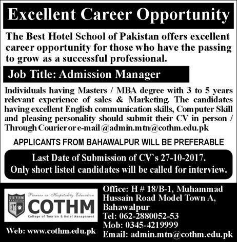 Mba Tourism Vacancies by In College Of Tourism Hotel Management Cothm