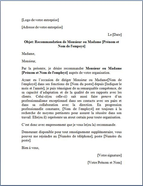 Lettre De Motivation Sur Recommandation Exemple Modele Lettre De Recommandation Post Doc Document