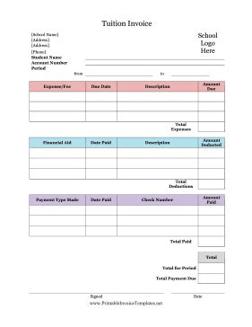 tuition bill template tuition invoice template
