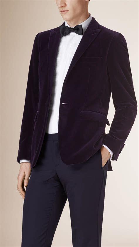 Dpurple Coat Blazer Ungu Korea Jaket lyst burberry velvet part canvas tuxedo jacket in purple for